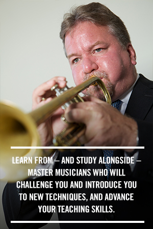 Learn from, and study alongside, master musicians who will challenge you and introduce you to new techniques, and advance your teaching skills.