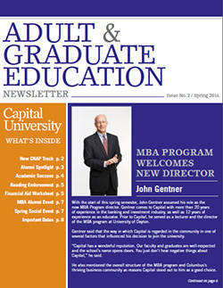 Adult and Graduate Education Spring 2016 Newsletter Cover